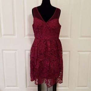 ADRIANNA PAPELL lace embroidery dress